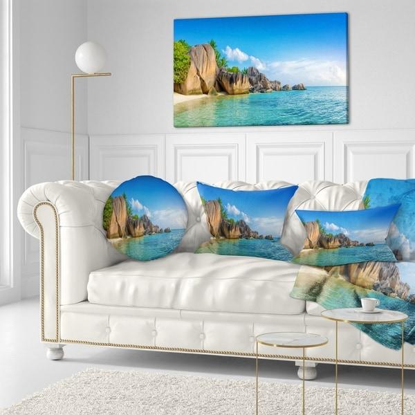Designart 'Fantastic Seychelles Seashore' Seascape Throw Pillow