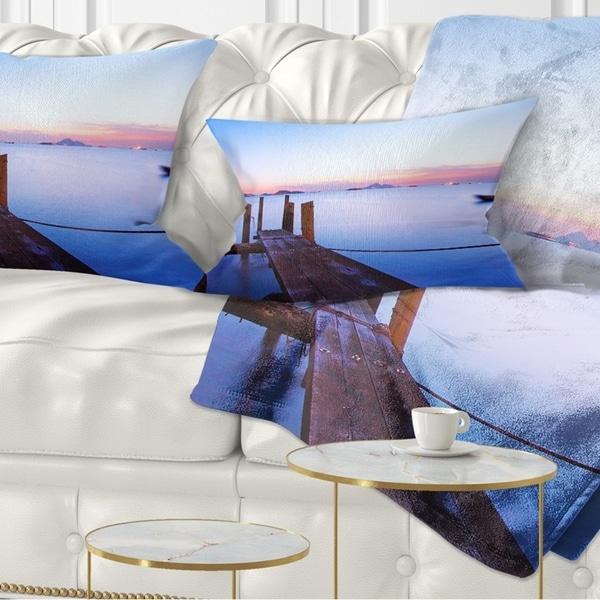 Designart 'Wooden Pier at Sunset' Seascape Photography Throw Pillow