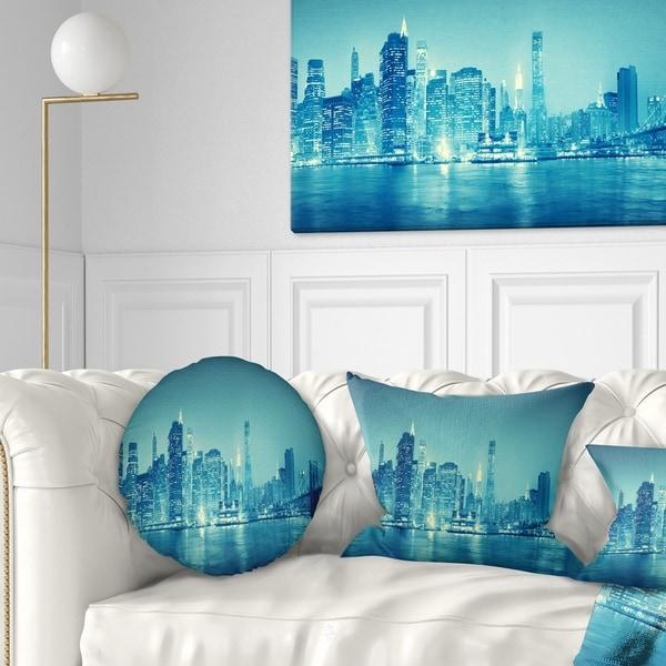 Designart 'Blue New York at Night' Cityscape Digital Throw Pillow