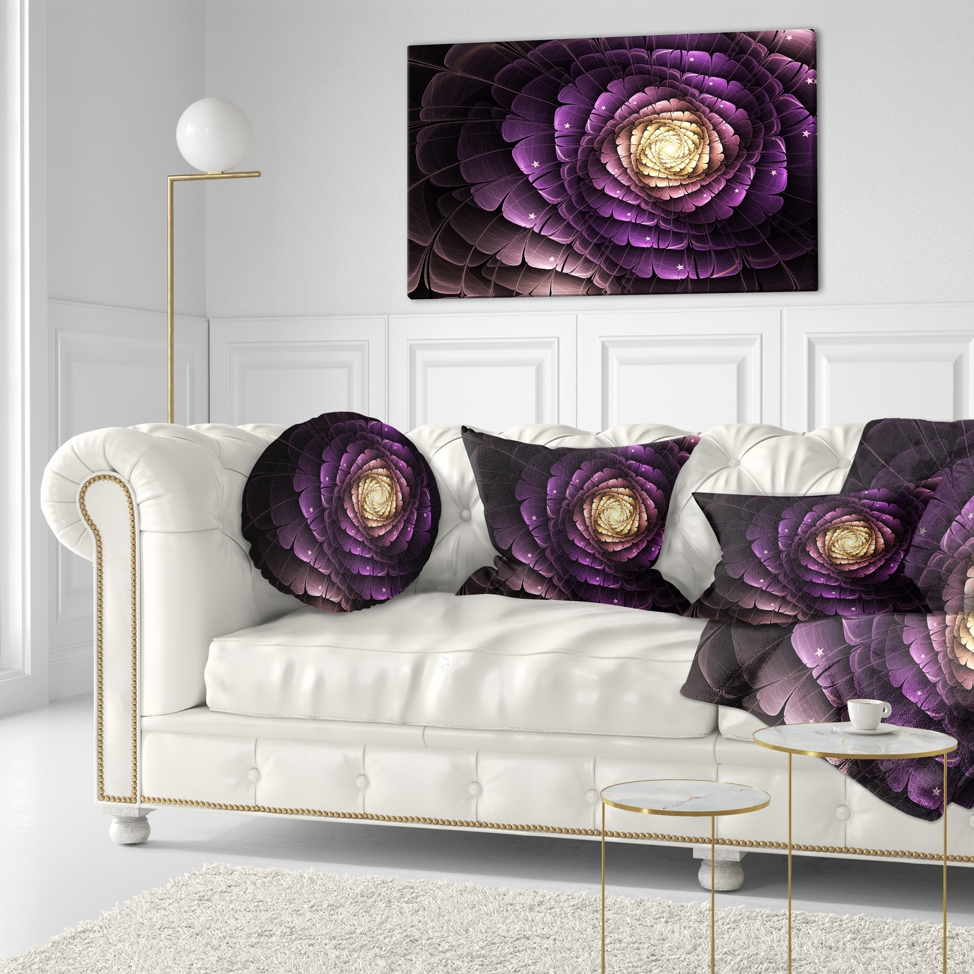 Designart Fractal Flower Light Purple Digital Art Flower Throw Pillow On Sale Overstock 20945391