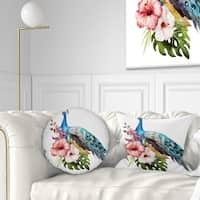 Designart 'Hibiscus Flowers and Blue Peacock' Flower Throw Pillow