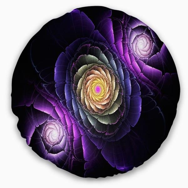 Designart Fractal Purple Flowers Digital Art Flower Throw Pillow On Sale Overstock 20945417