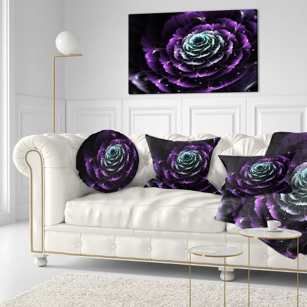 Designart 'Purple Blue Fractal Flower Digital Art' Floral Throw Pillow