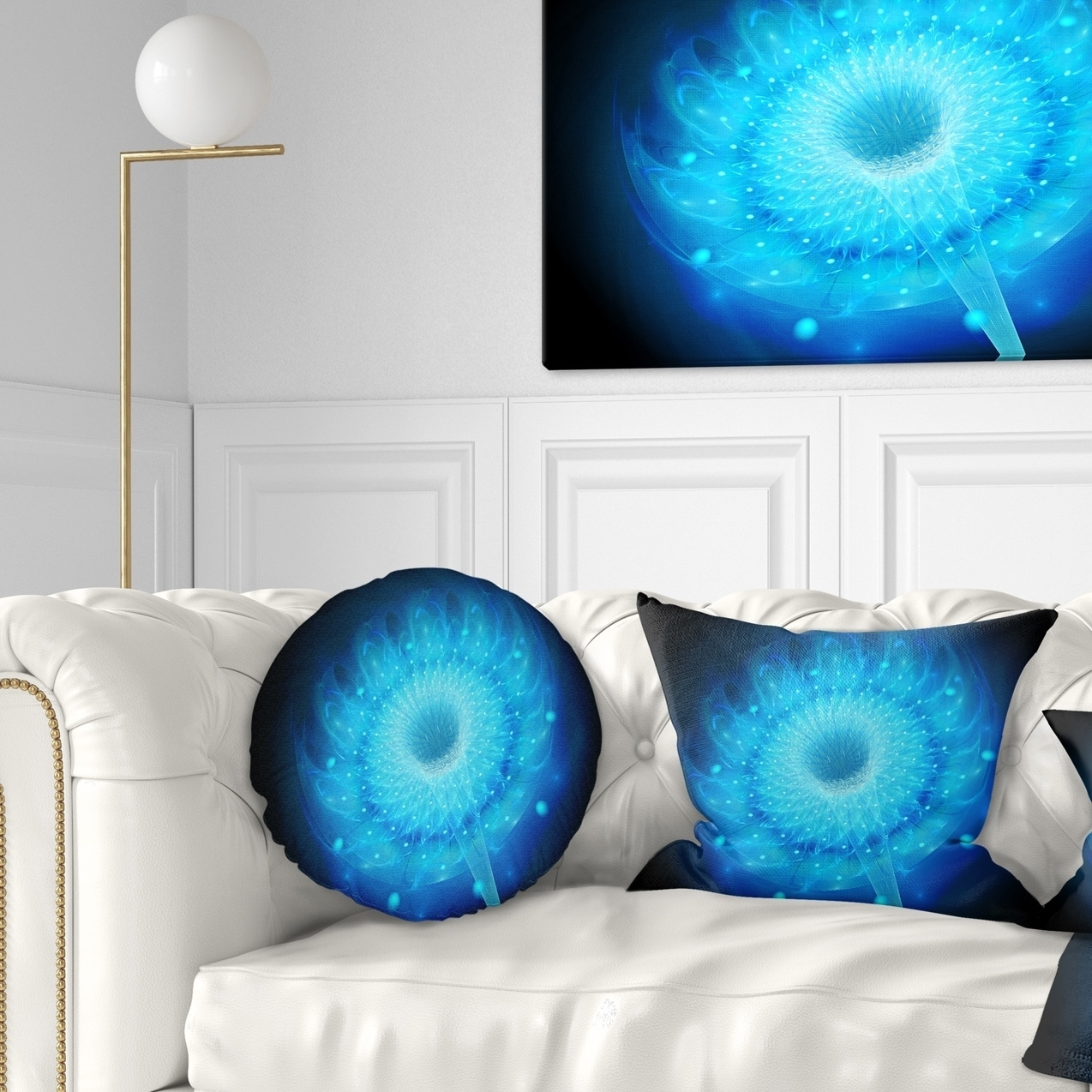 Designart Glowing Blue Fractal Flower On Black Floral Throw Pillow