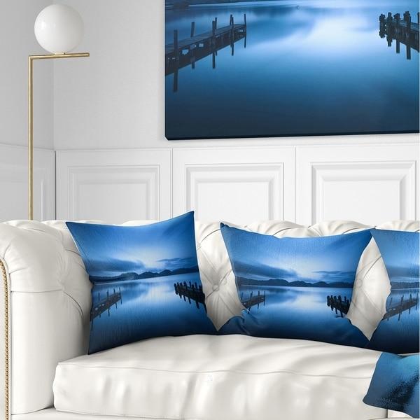 Designart 'Dark Blue Sea and Piers' Seascape Throw Pillow