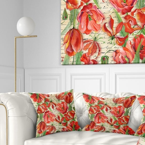 Designart 'Seamless Red Flower Pattern' Floral Throw Pillow