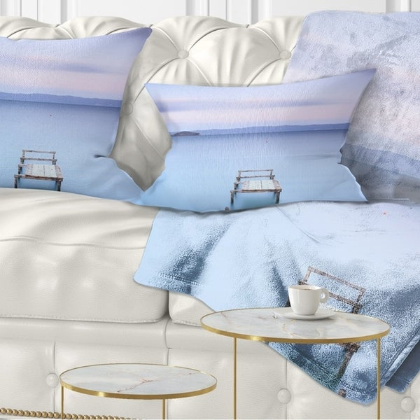Designart 'Bright Purple Sky' Seascape Throw Pillow