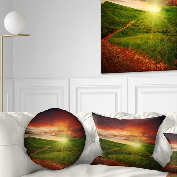 Designart 'Majestic Sunset and Path in Meadow' Landscape Printed Throw Pillow