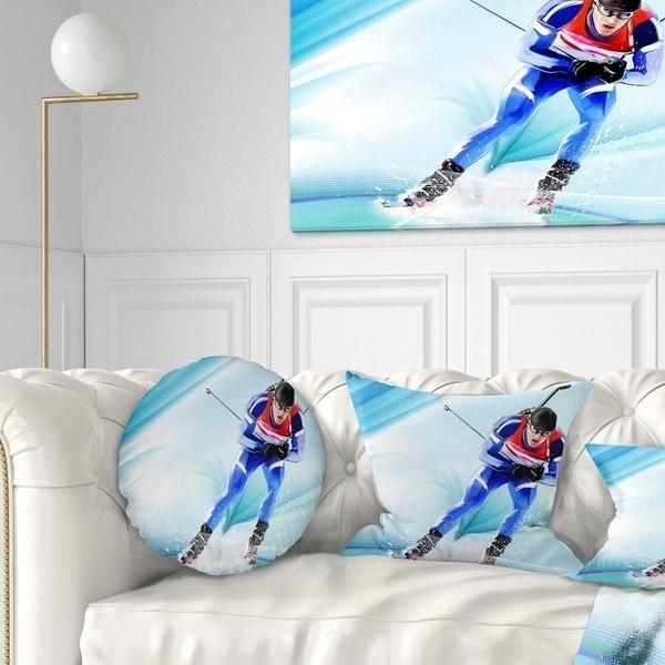 Designart 'Extreme Male Skier' Portrait Throw Pillow