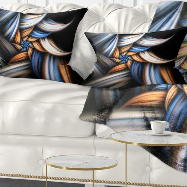 Designart 'Multi Color Fractal Floral Pattern in Black' Floral Throw Pillow