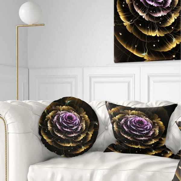 Designart Perfect Fractal Flower In Gold And Purple Floral Throw Pillow On Sale Overstock 20945577