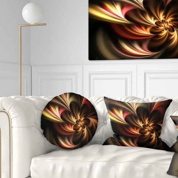 Designart 'Glossy Yellow and Red Fractal Flower' Floral Throw Pillow