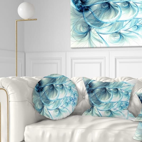 Designart Light Blue Fractal Flower Soft Pattern Floral Throw Pillow On Sale Overstock 20945581