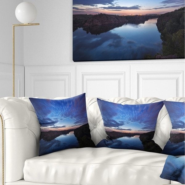 Designart 'Clouds Reflection in River' Landscape Photography Throw Pillow