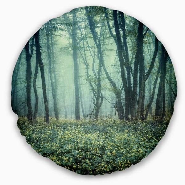 Designart Trail Through Foggy Forest Landscape Photo Throw Pillow On Sale Overstock 20945600