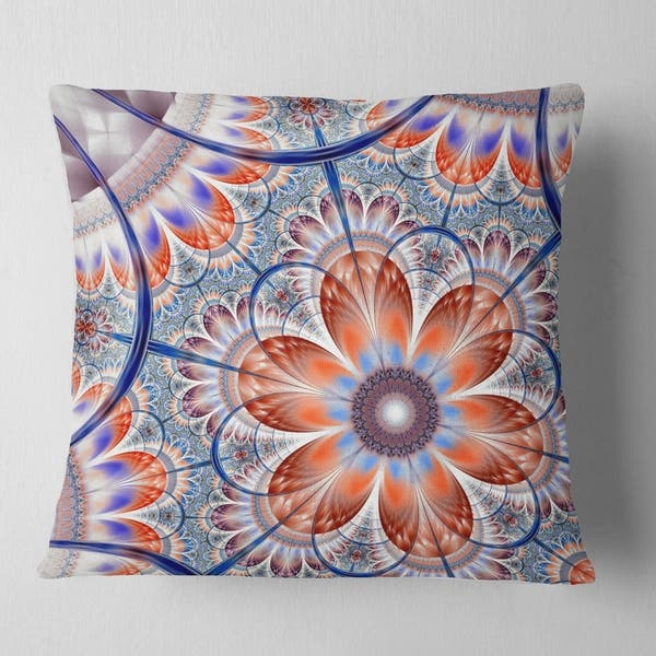 Designart Brown And Blue Large Fractal Flower Floral Throw Pillow On Sale Overstock 20945615