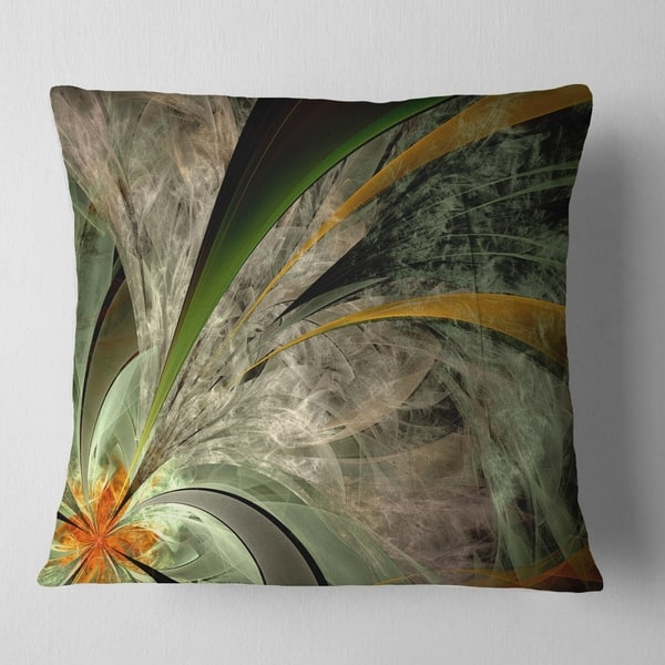 Designart Symmetrical Fractal Flower In Green Floral Throw Pillow On Sale Overstock 20945671