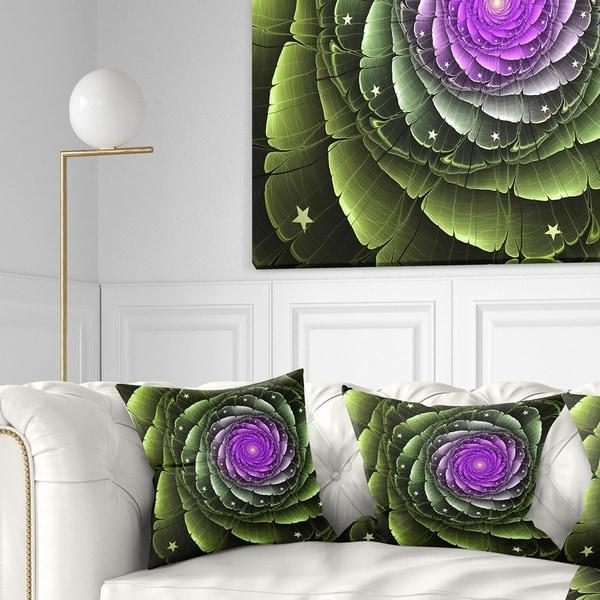 Designart 'Lush Green and Purple Fractal Flower' Floral Throw Pillow