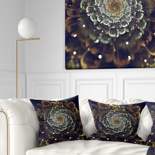 Designart 'Perfect Fractal Flower in Orange and Silver' Floral Throw Pillow