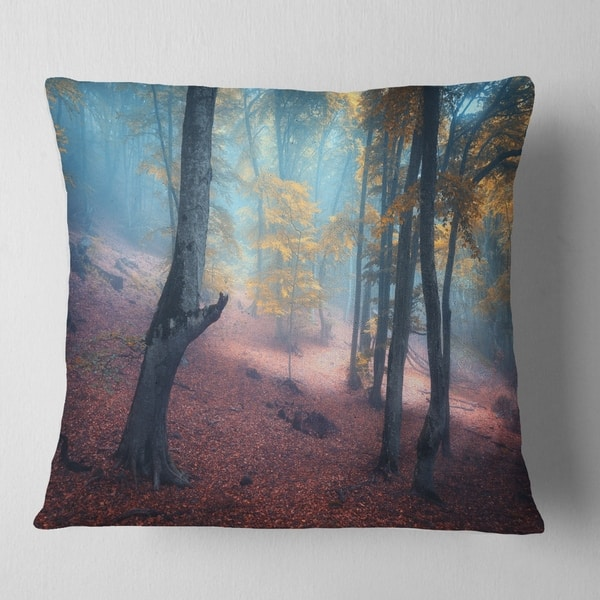 Designart Mysterious Fairytale Yellow Wood Landscape Photography Throw Pillow On Sale Overstock 20945725