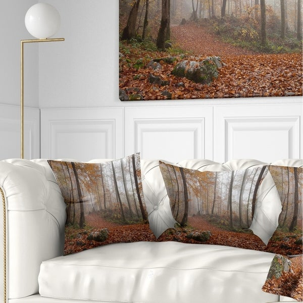 Designart 'Autumn Forest in Germany' Landscape Photography Throw Pillow