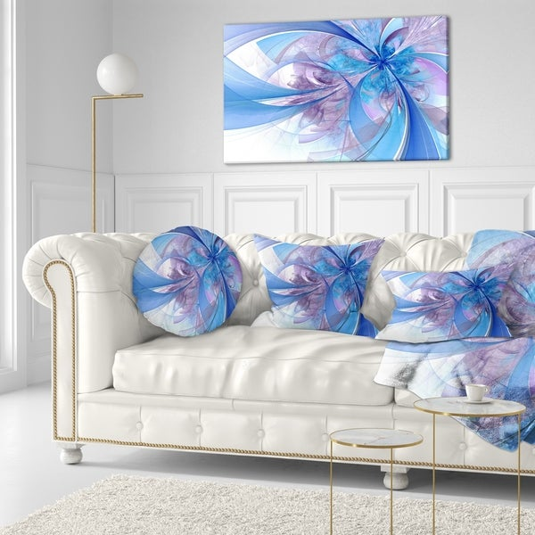Designart 'Light Blue and Purple Fractal Flower' Floral Throw Pillow