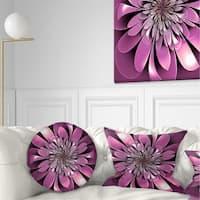 Designart 'Glittering Lush Purple Fractal Flower' Floral Throw Pillow
