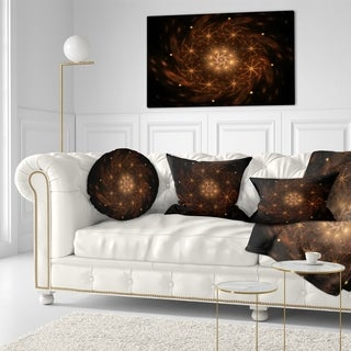 Designart 'Large Rounded Brown Fractal Flower' Floral Throw Pillow (More options available)