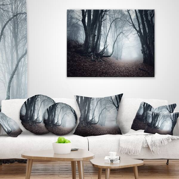 Designart Mysterious Fairytale Foggy Wood Landscape Photography Throw Pillow On Sale Overstock 20945763