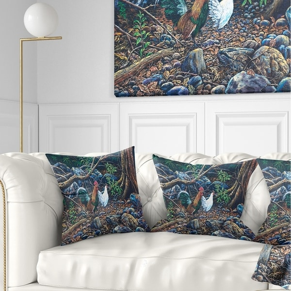 Designart 'Jungle Fowl in Forest' Landscape Printed Throw Pillow