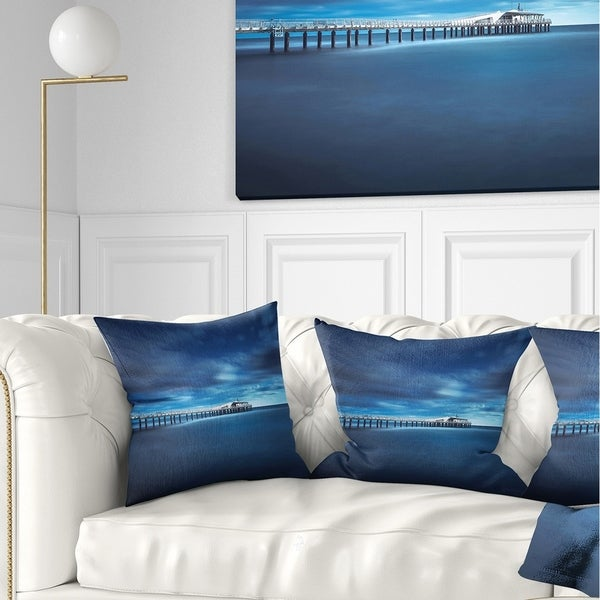 Designart 'Cloudy Sky Calm Blue Waters' Seascape Throw Pillow