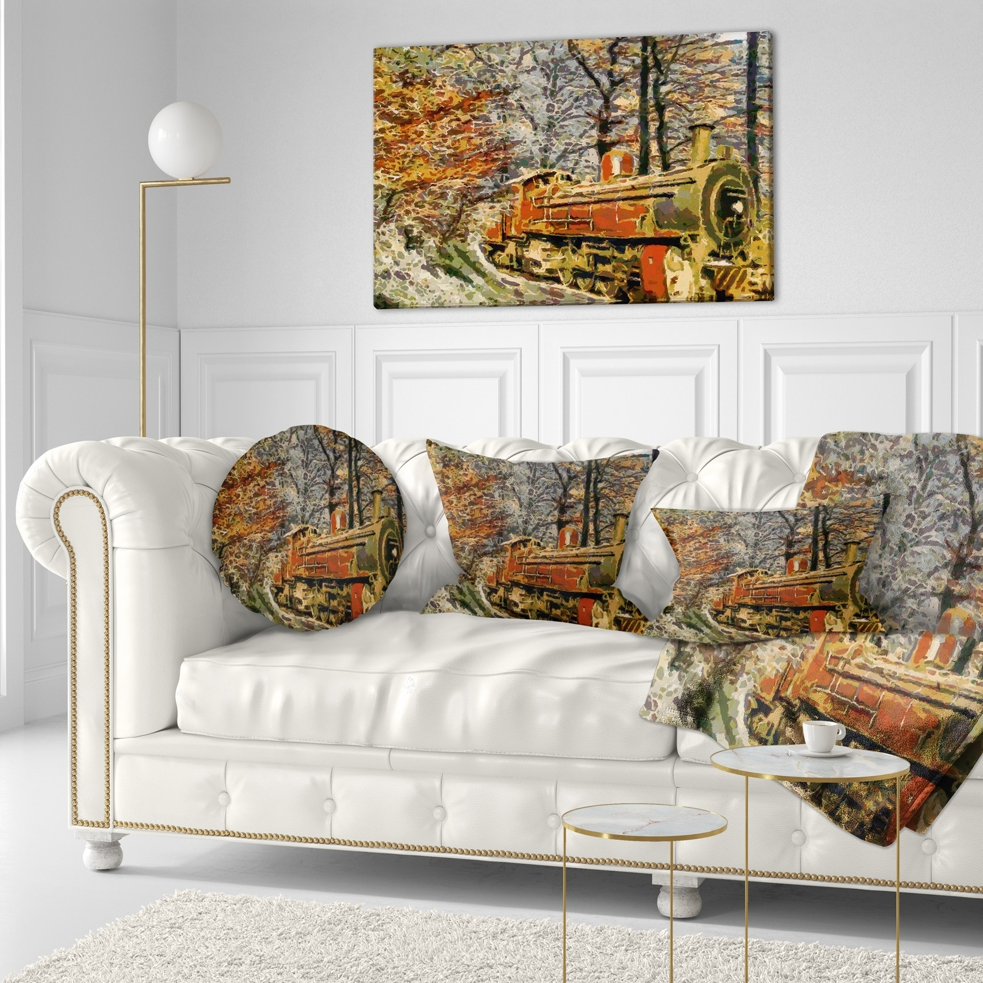 Designart Train In Forest Oil Painting Landscape Painting Throw Pillow On Sale Overstock 20945826