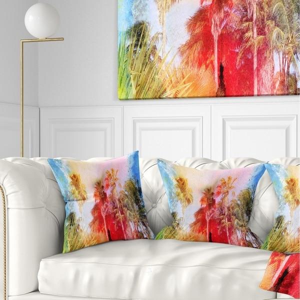 Designart 'Retro Palms Watercolor' Trees Painting Throw Pillow