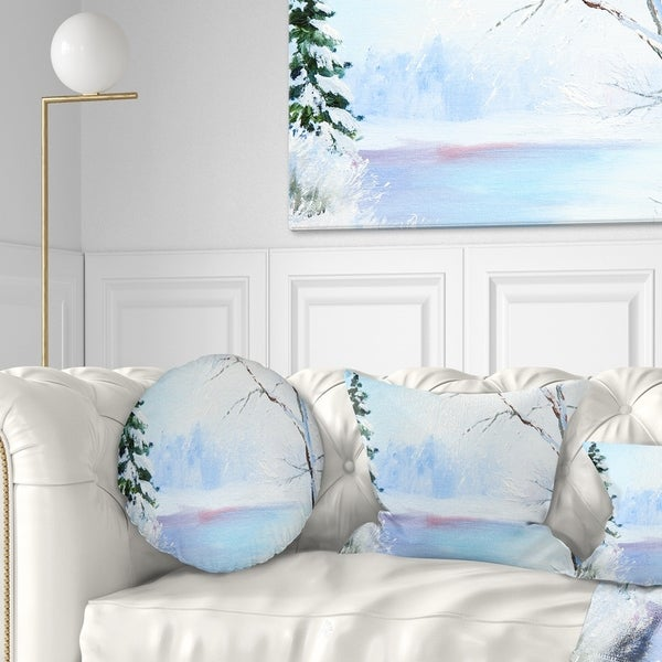 Designart 'Frozen River Oil Painting' Landscape Painting Throw Pillow