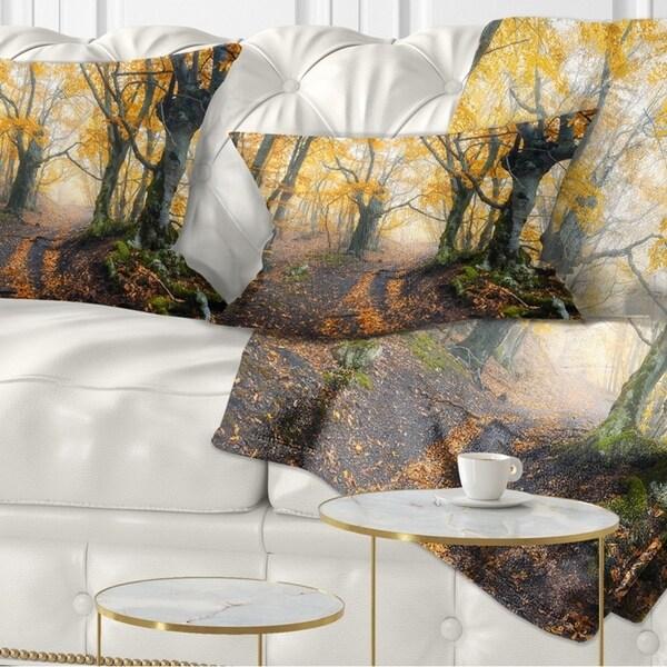 Designart 'Dark Yellow Old Forest in Fog' Landscape Photography Throw Pillow