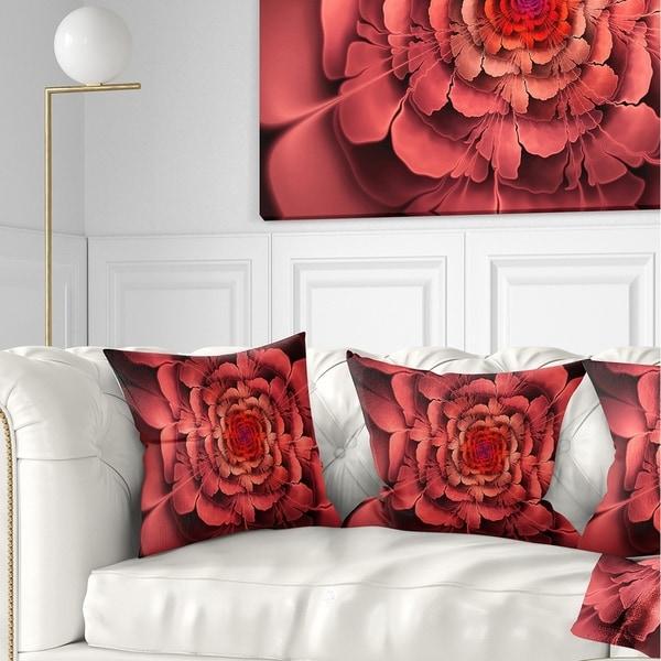 Designart 'Dense Fractal Pink Petals' Floral Throw Pillow