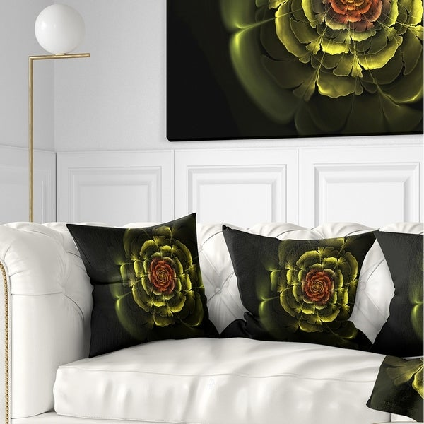 Designart 'Fractal Yellow Rose in Dark' Floral Throw Pillow