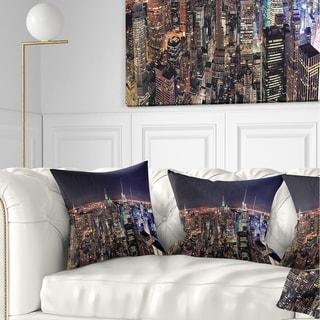 Designart 'NYC Manhattan Aerial View' Cityscape Photo Throw Pillow