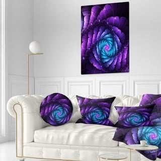 Designart 'Purple Fractal Flower in Dark' Floral Throw Pillow