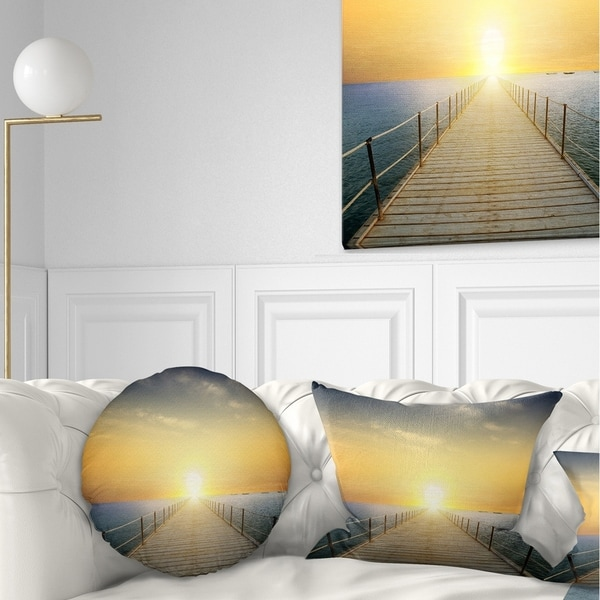 Designart 'Ocean Sunset with Pier' Seascape Throw Pillow