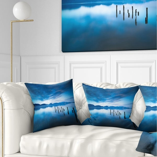 Designart 'Blue Lake with Wooden Pier' Landscape Photography Throw Pillow