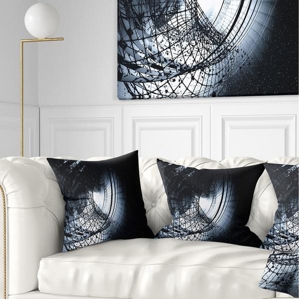 Designart '3D Abstract Art Black Spiral' Abstract Throw Pillow