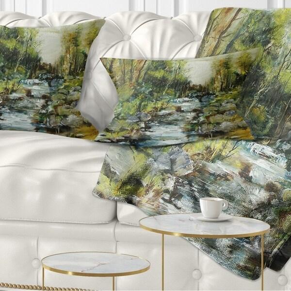 Designart 'Rocky Terrain with Creek' Landscape Painting Throw Pillow