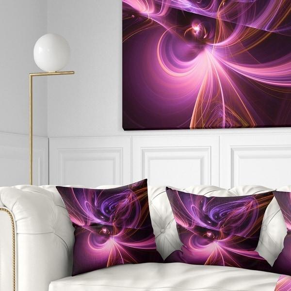 Designart 'Purple Fractal Light Art in Dark' Abstract Throw Pillow