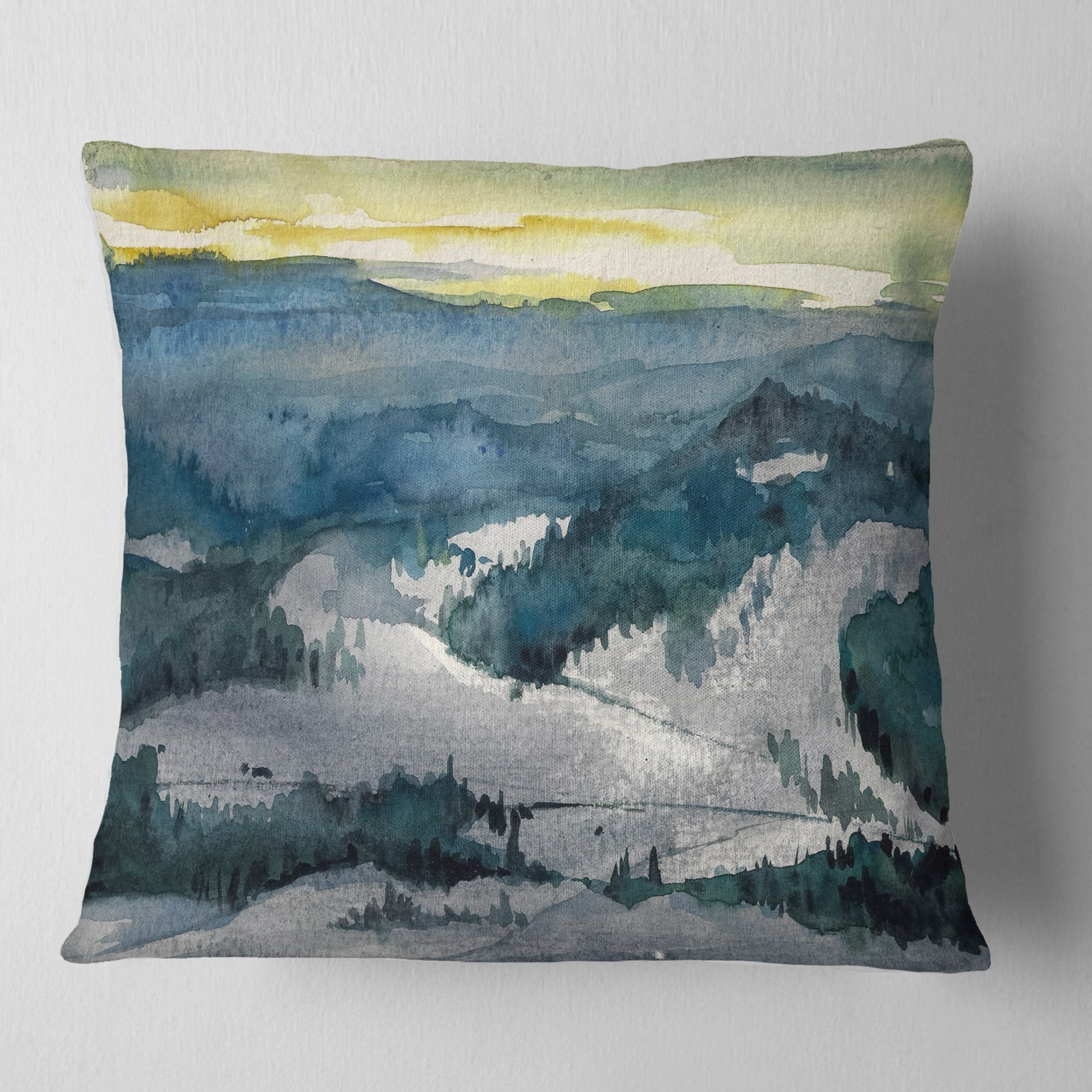 Designart Dark Mountains Watercolor Landscape Painting Throw Pillow On Sale Overstock 20945996