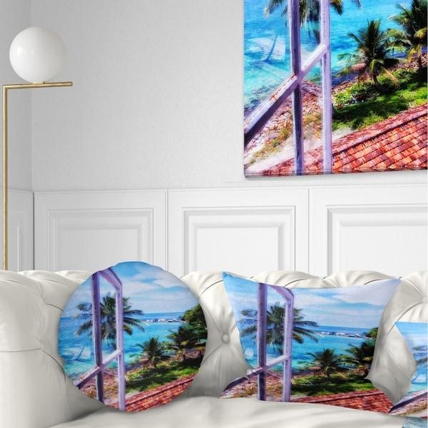 Designart 'Light House Window View' Landscape Photo Throw Pillow