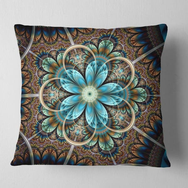 Designart Large Brown Blue Fractal Flower Floral Throw Pillow On Sale Overstock 20946041