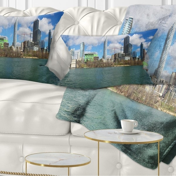 Designart 'Austin Skyline on Sunny Day' Cityscape Photo Throw Pillow