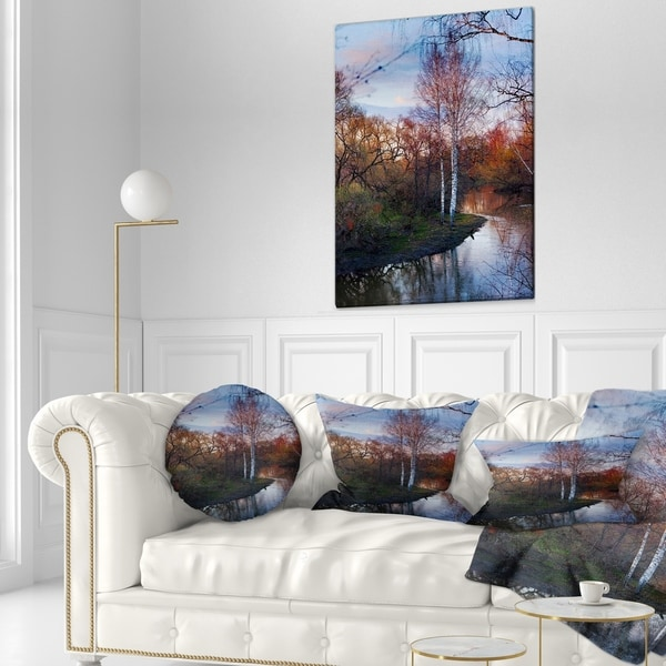 In Designart Cu8740 12 20 Forest River In The Spring Landscape Photo Lumbar Cushion Cover For Living Room Sofa Throw Pillow 12 In X 20 In Home Kitchen Throw Pillow Covers