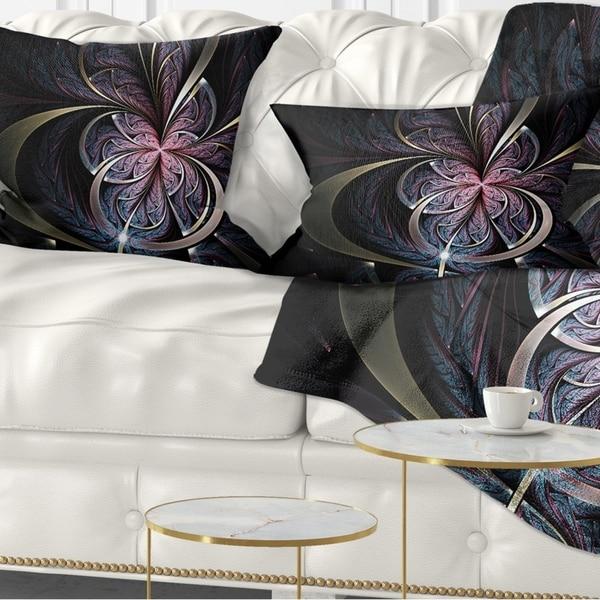 Designart 'Dark Blue Fractal Butterfly Flower' Floral Throw Pillow